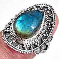 6.41cts natural blue labradorite 925 silver solitaire ring size 6.5 p92362