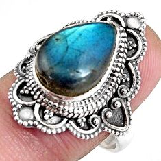 6.83cts natural blue labradorite 925 silver solitaire ring size 8.5 p92365