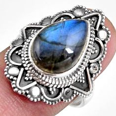 6.48cts natural blue labradorite 925 silver solitaire ring size 7.5 p92367