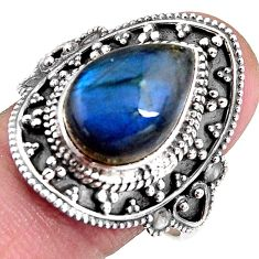 7.13cts natural blue labradorite 925 silver solitaire ring size 10.5 p92372