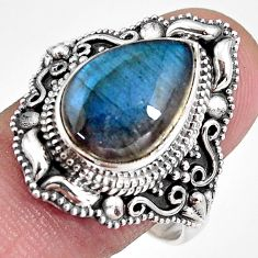 6.63cts natural blue labradorite 925 silver solitaire ring size 10 p92374