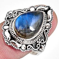 6.63cts natural blue labradorite 925 silver solitaire ring size 10 p92379