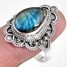 6.83cts natural blue labradorite 925 silver solitaire ring size 10.5 p92380