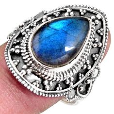 6.89cts natural blue labradorite 925 silver solitaire ring size 10 p92385