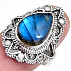 6.83cts natural blue labradorite 925 silver solitaire ring size 7.5 p92395