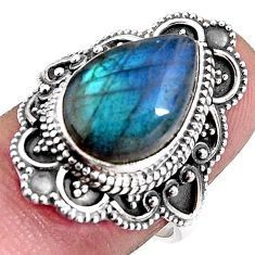 6.83cts natural blue labradorite 925 silver solitaire ring size 7.5 p92398