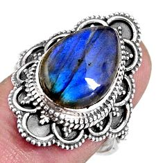 6.56cts natural blue labradorite 925 silver solitaire ring size 7.5 p92399