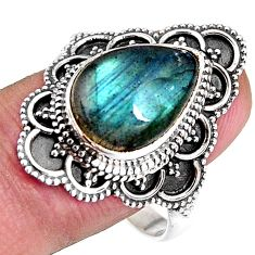 6.46cts natural blue labradorite 925 silver solitaire ring size 10.5 p92610