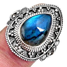 6.89cts natural blue labradorite 925 silver solitaire ring size 10 p92611