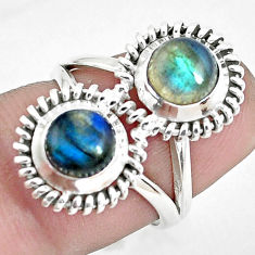 2.46cts natural blue labradorite 925 sterling silver ring jewelry size 6 d31437