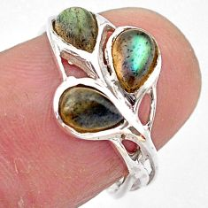 3.22cts natural blue labradorite 925 sterling silver ring size 7.5 p83434