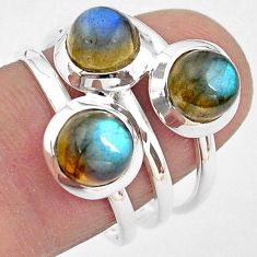 3.41cts natural blue labradorite 925 sterling silver ring size 7.5 p85812