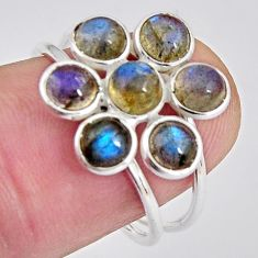 5.51cts natural blue labradorite 925 sterling silver ring size 7.5 p89879