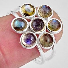 5.43cts natural blue labradorite 925 sterling silver ring size 7.5 p89880