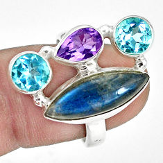 12.71cts natural blue labradorite amethyst topaz 925 silver ring size 7.5 p32826