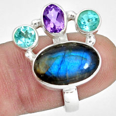 9.72cts natural blue labradorite amethyst topaz 925 silver ring size 7 p32827