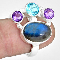 9.03cts natural blue labradorite amethyst topaz 925 silver ring size 7 p32832