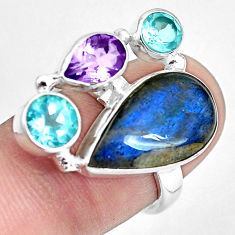 Natural blue labradorite amethyst topaz 925 sterling silver ring size 7 p32999