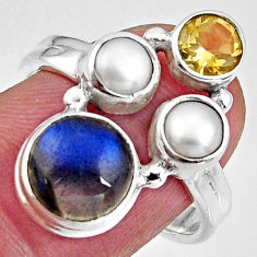 7.30cts natural blue labradorite citrine pearl 925 silver ring size 8 p90622