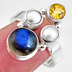 7.53cts natural blue labradorite citrine pearl 925 silver ring size 7 p90623