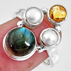 8.21cts natural blue labradorite citrine pearl 925 silver ring size 6.5 p90627