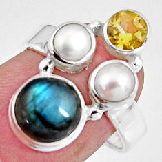 7.53cts natural blue labradorite citrine pearl 925 silver ring size 7 p90628