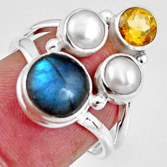 8.03cts natural blue labradorite citrine pearl 925 silver ring size 7 p90629