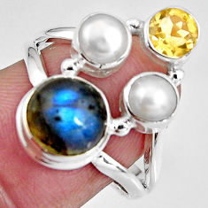 8.05cts natural blue labradorite citrine pearl 925 silver ring size 8 p90630