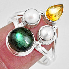 8.22cts natural blue labradorite citrine pearl 925 silver ring size 8 p90631