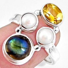 7.82cts natural blue labradorite citrine pearl 925 silver ring size 7 p90635
