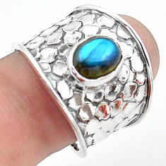 3.16cts natural blue labradorite oval 925 silver solitaire ring size 8.5 p74853