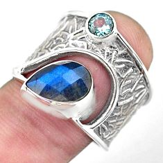 4.13cts natural blue labradorite topaz 925 sterling silver ring size 8 p55940