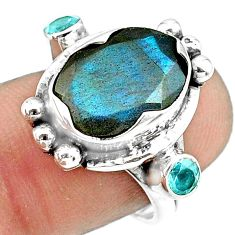 7.78cts natural blue labradorite topaz 925 sterling silver ring size 8 p79013