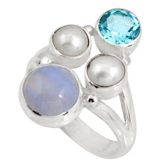 6.83cts natural blue lace agate topaz 925 sterling silver ring size 7.5 p90752