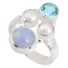 6.31cts natural blue lace agate topaz 925 sterling silver ring size 8.5 p90753
