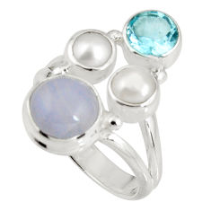 6.31cts natural blue lace agate topaz 925 sterling silver ring size 6.5 p90755