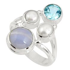 6.30cts natural blue lace agate topaz 925 sterling silver ring size 7 p90756