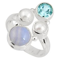 6.29cts natural blue lace agate topaz 925 sterling silver ring size 8 p90758