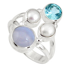 6.35cts natural blue lace agate topaz 925 sterling silver ring size 7 p90759