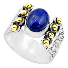 4.61cts natural blue lapis lazuli 925 silver gold solitaire ring size 8.5 p81030