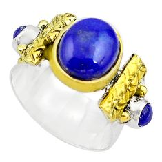 6.62cts natural blue lapis lazuli 925 silver gold solitaire ring size 9.5 p81132