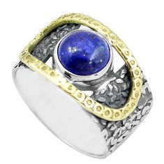 5.62cts natural blue lapis lazuli 925 silver gold solitaire ring size 8.5 p87952