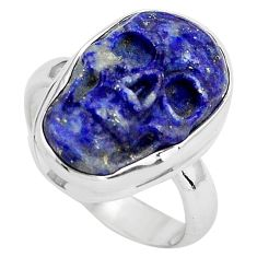9.54cts natural blue lapis lazuli 925 silver skull solitaire ring size 7 p88261