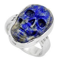 9.99cts natural blue lapis lazuli 925 silver skull solitaire ring size 6 p88272