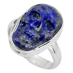 9.61cts natural blue lapis lazuli 925 silver skull solitaire ring size 7 p88274