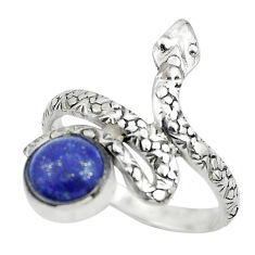 3.52cts natural blue lapis lazuli 925 silver snake solitaire ring size 9 p62888