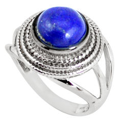 Clearance Sale- 6.80cts natural blue lapis lazuli 925 silver solitaire ring size 9 d31284