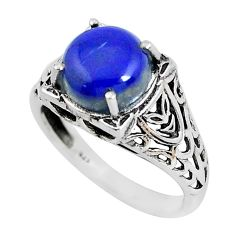 Clearance Sale- 4.92cts natural blue lapis lazuli 925 silver solitaire ring size 8 d31290
