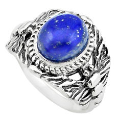 4.71cts natural blue lapis lazuli 925 silver solitaire ring size 8 p55793
