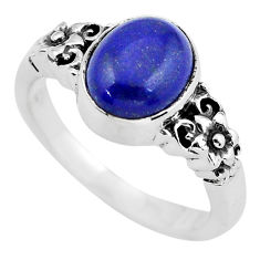 4.21cts natural blue lapis lazuli 925 silver solitaire ring size 8 p55807
